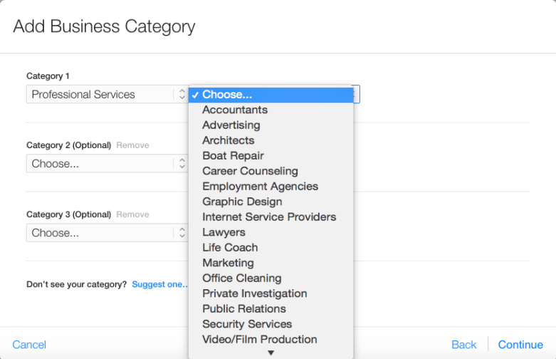 Add Business Categories